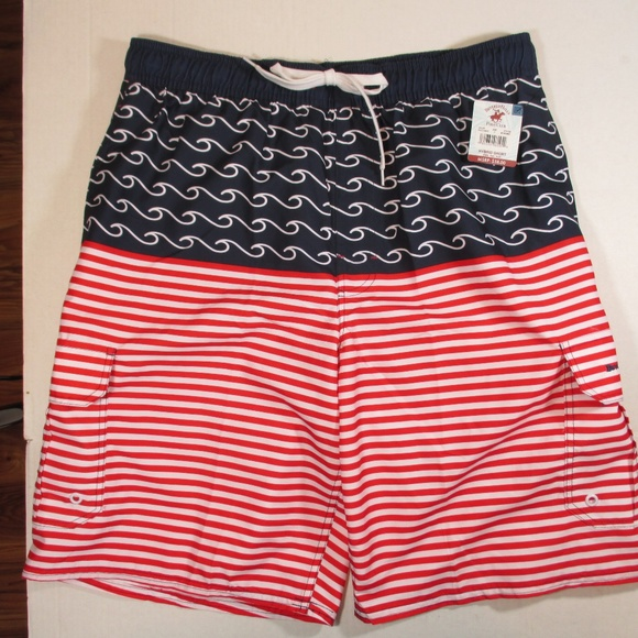 e2090f3a39d Beverly Hills Polo Club Swim   New Mens Trunks Red White Blue Size L ...
